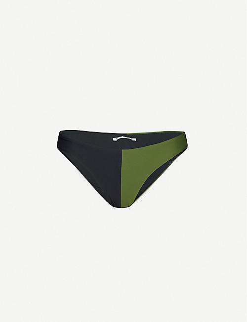 LES GIRLS LES BOYS: Colour ribbed mid-rise bikini bottoms