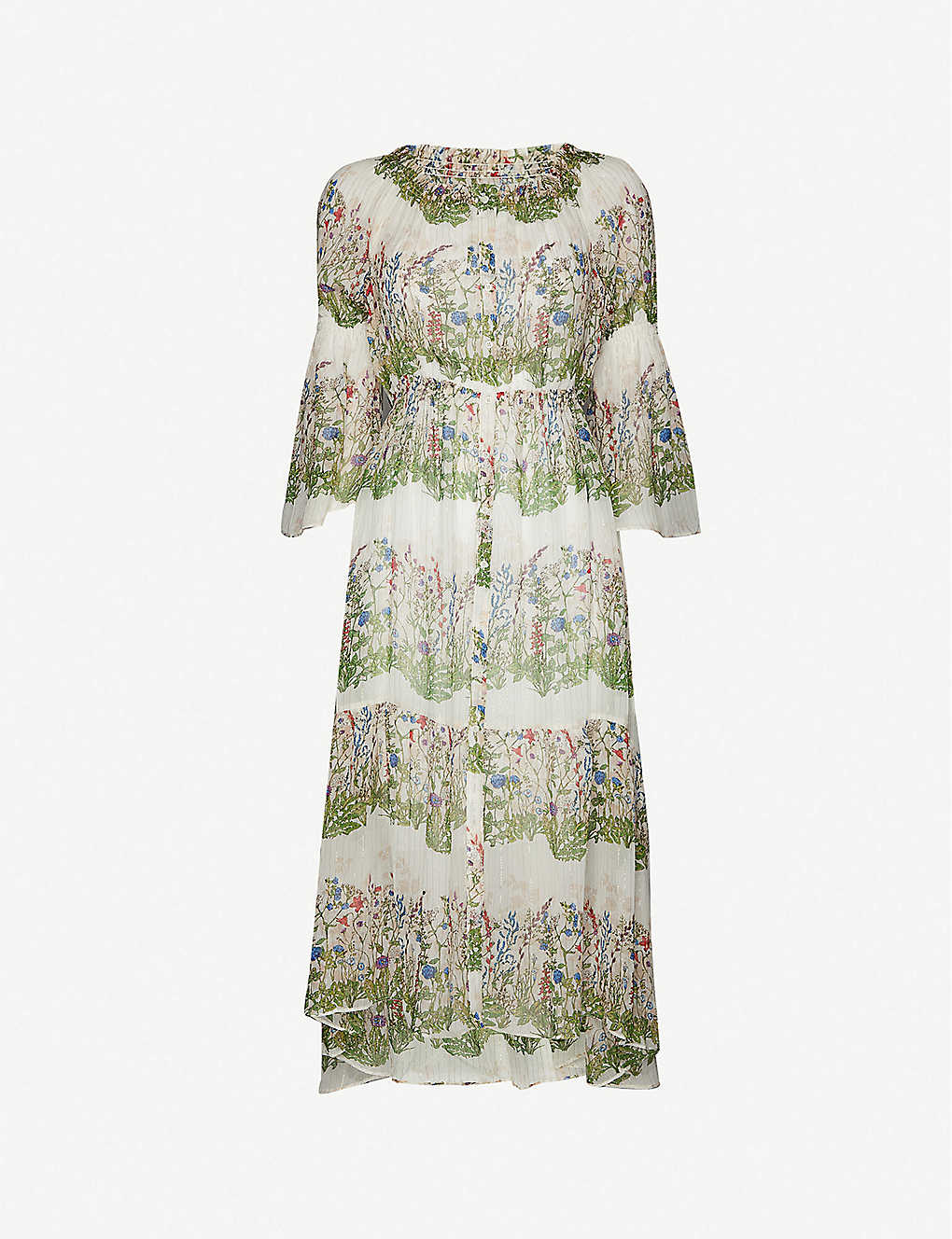 MAJE: Ruisseau floral-pattern metallic-silk shift midi dress