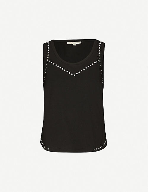 MAJE: Stud-embellished cotton-jersey vest top