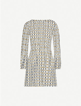 MAJE: Rockina graphic-print woven mini dress