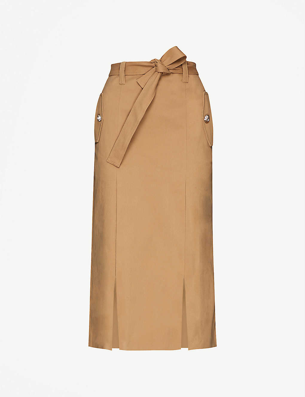 MAJE: Belted stretch cotton-twill skirt