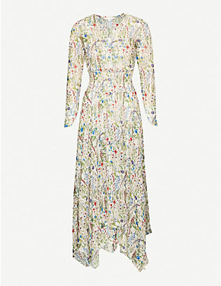 MAJE: Floral-print crepe maxi dress