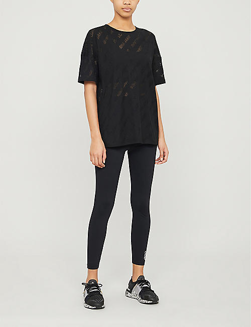 LORNA JANE Burnout logo-print cotton-blend T-shirt