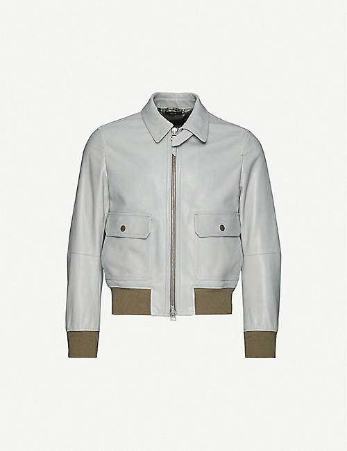 TOM FORD Spread collar leather bomber jacket