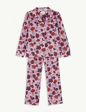 LITTLE YOLKE Floral print cotton pyjamas 2-16 years