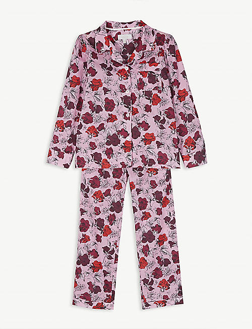 LITTLE YOLKE: Floral print cotton pyjamas 3-12 years