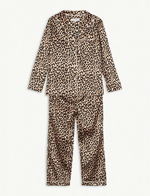 LITTLE YOLKE Leopard print cotton pyjama set 2-16 years