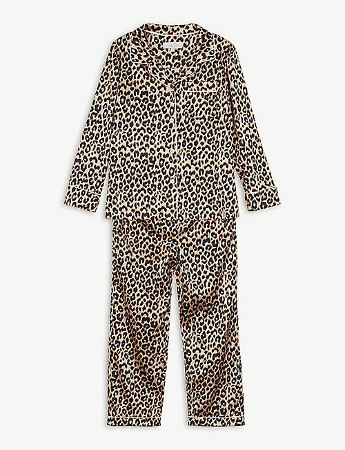 LITTLE YOLKE: Leopard print stretch-silk pyjama set 7-12 years