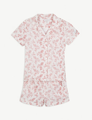 LITTLE YOLKE Floral cotton pyjama set 2-16 years