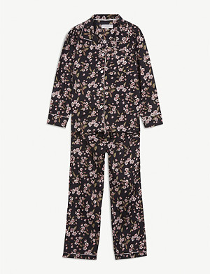 LITTLE YOLKE Rose-print cotton pyjama set 2-16 years