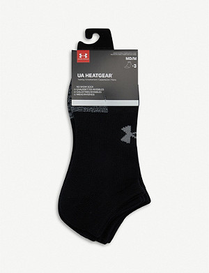 UNDER ARMOUR Pack of three HeatGear woven and mesh running socks