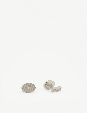 TYLER & TYLER Crosshatch silver-toned metal cufflinks