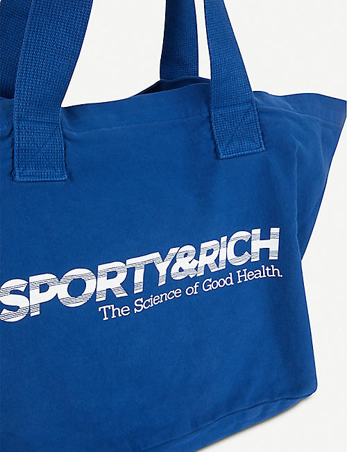 SPORTY & RICH Logo-print denim tote bag