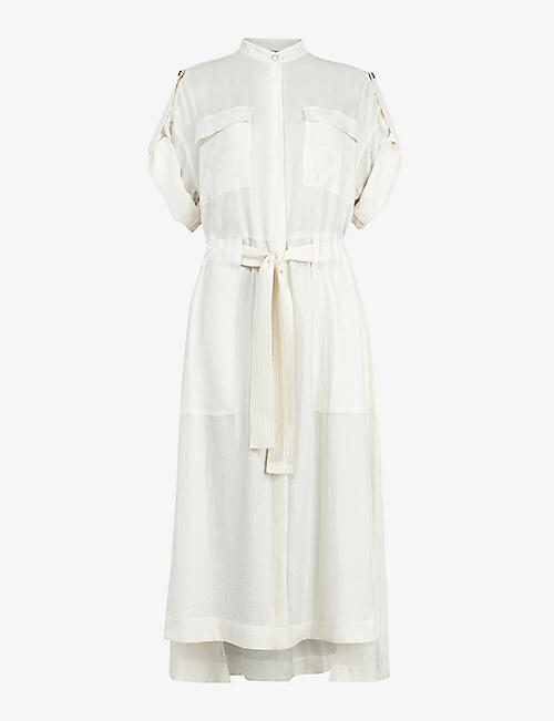 ALLSAINTS: Luciana satin utility midi dress