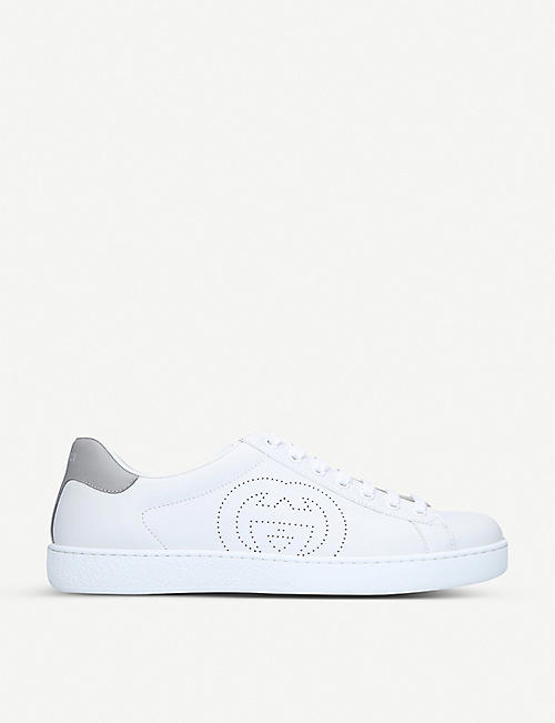 GUCCI: New Ace perforated-logo leather trainers