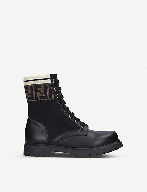 FENDI: FF Worker leather lace-up boots 7-10 years