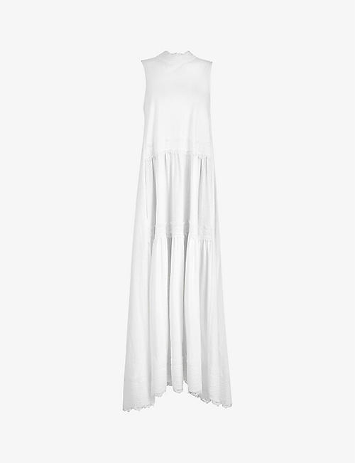 ALLSAINTS: Tier lace-trimmed cotton maxi dress