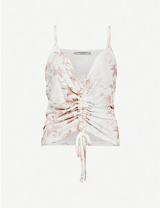 ALLSAINTS: Rina evolution-print stretch-woven top