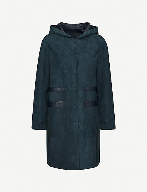 YVES SALOMON Hooded leather and suede coat