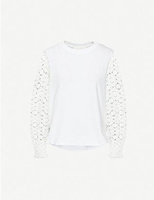 SEE BY CHLOE: Floral-lace cotton-jersey top