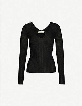 ISABEL BENENATO: Semi-sheer cotton-blend knitted top