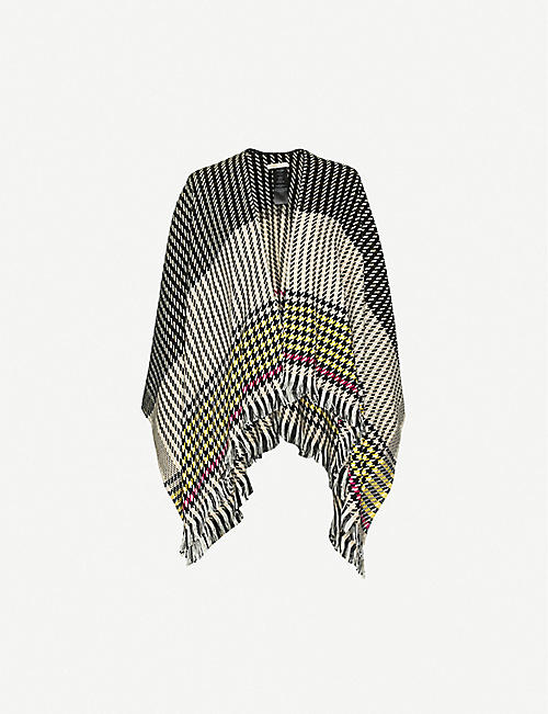 MAJE: Emilia houndstooth knitted poncho