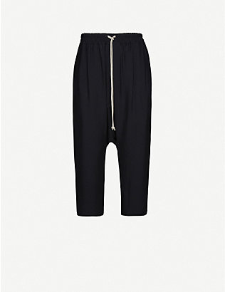 RICK OWENS: Dropped-crotch cropped crepe trousers