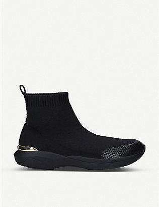 CARVELA: Jibberish knitted and snake-embossed faux-leather trainers
