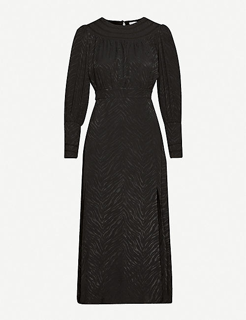TOPSHOP Jacquard long-sleeved satin midi dress