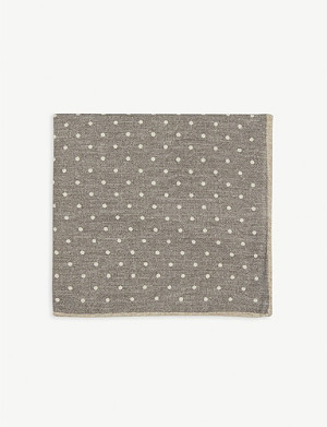 ELEVENTY Polka dot print wool and cotton pocket square