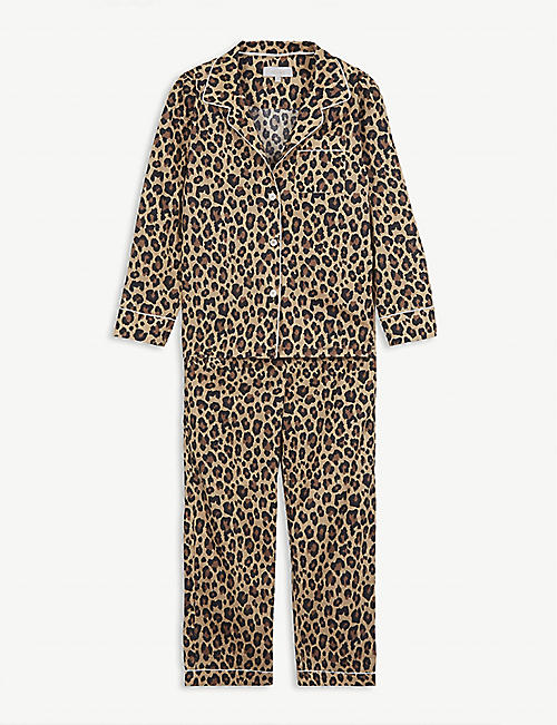 LITTLE YOLKE: Leopard-print cotton pyjama set 3-12 years