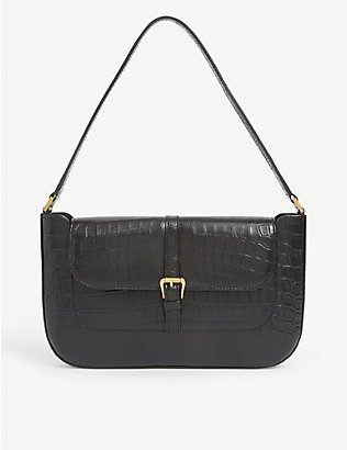 BY FAR: Miranda crocodile-embossed deadstock-leather shoulder bag