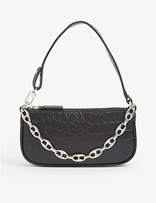 BY FAR: Rachel mini crocodile-embossed deadstock-leather shoulder bag
