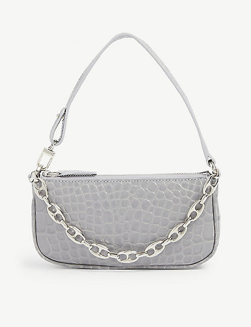 BY FAR: Mini Rachel crocodile-embossed deadstock leather shoulder bag