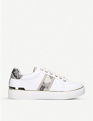 KG KURT GEIGER: Larissa snakeskin-print faux-leather trainers