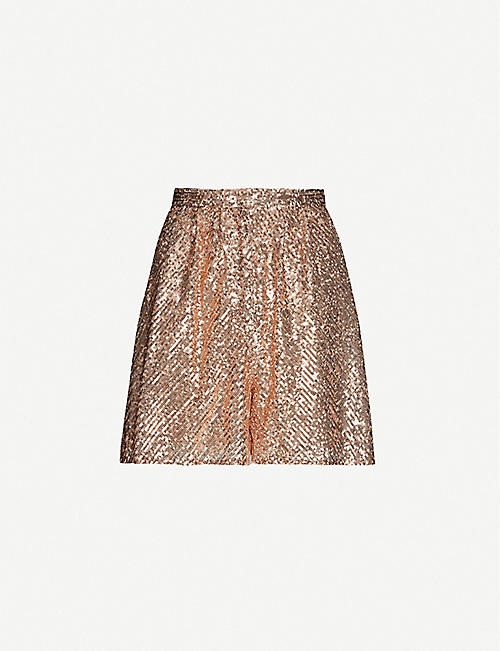 MAJE: Ipaillette high-rise sequinned shorts