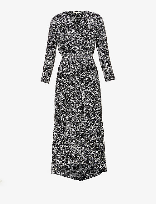 MAJE: Rosilau dot-print woven midi dress