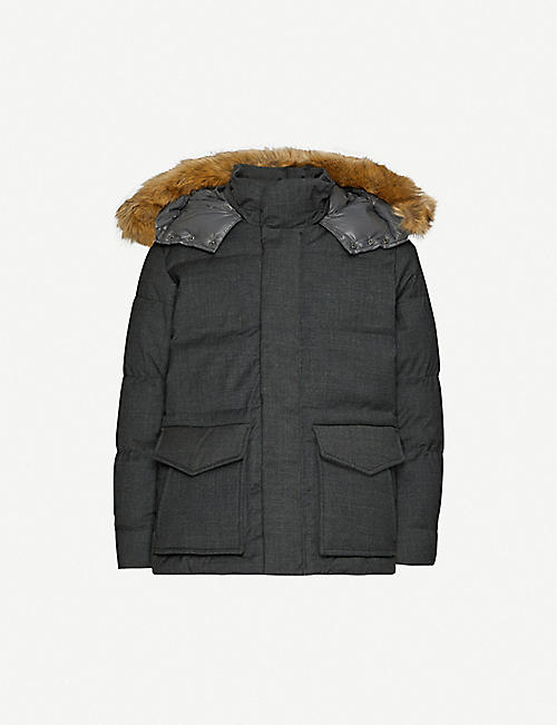 TOMMY HILFIGER Faux-fur logo-embroidered puffer-down jacket