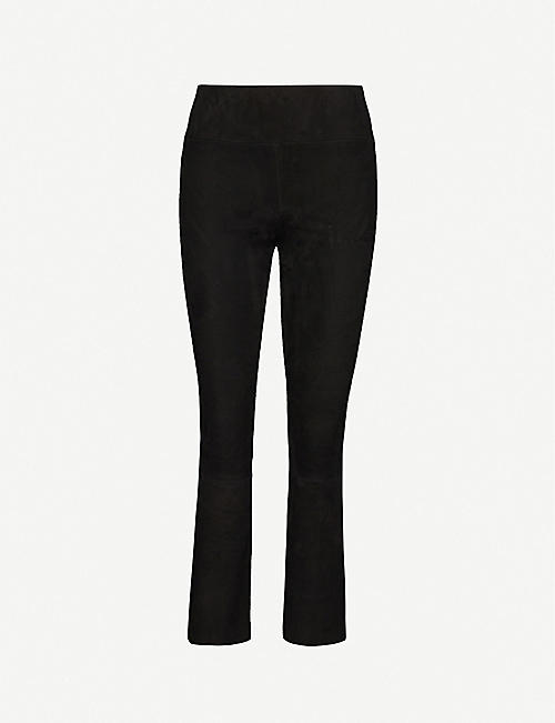 SPRWMN: Flared slim-fit high-rise suede trousers