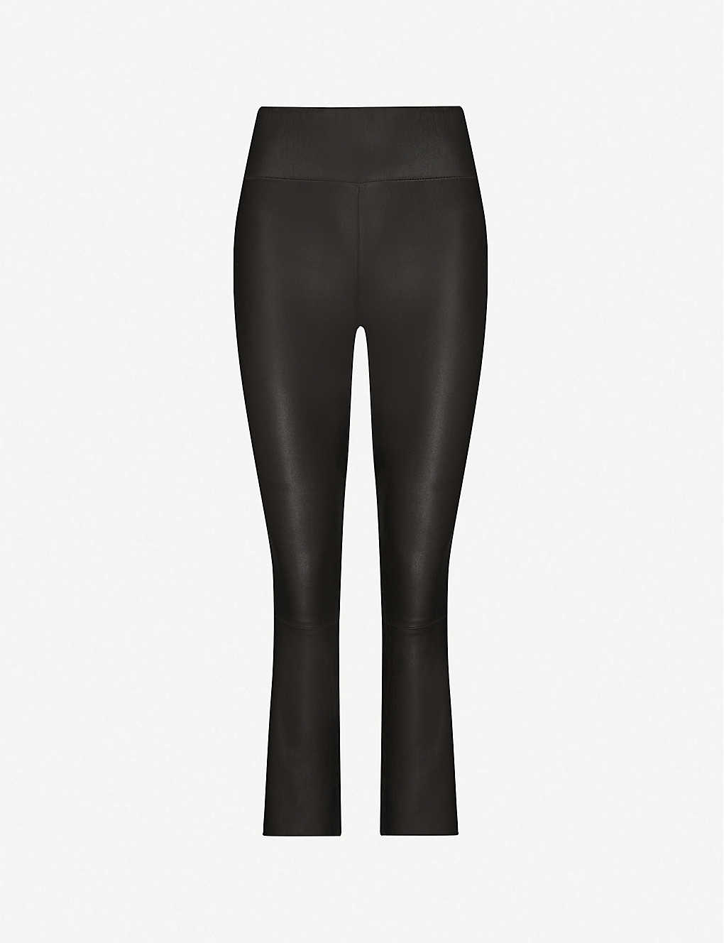 SPRWMN: Flared cropped high-rise leather trousers