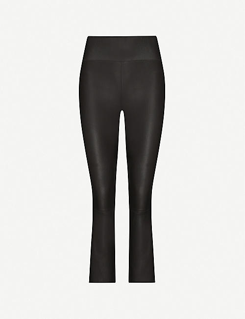 SPRWMN Flared cropped high-rise leather trousers