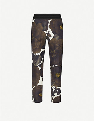 DRIES VAN NOTEN: Floral-print straight crepe trousers