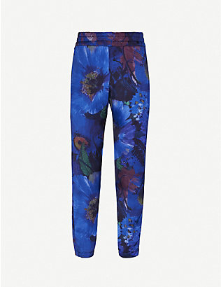 plinth: Floral-print straight crepe trousers
