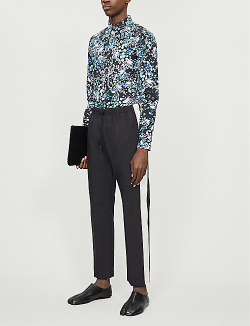 DRIES VAN NOTEN Contrast-stripe tapered cotton trousers