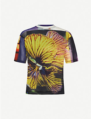 DRIES VAN NOTEN: Science Flower crewneck stretch-jersey T-shirt