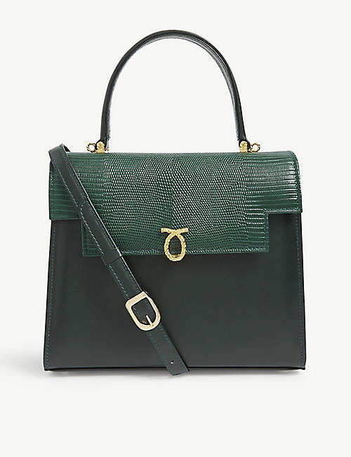 LAUNER: Traviata faux lizard leather tote bag