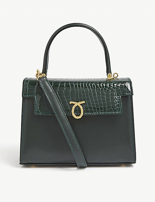 LAUNER Judi croc-embossed leather top handle bag