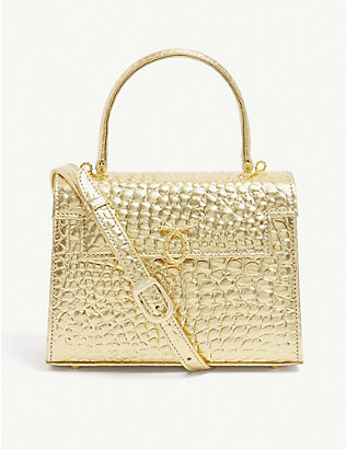 LAUNER: Judi croc-embossed leather tote bag