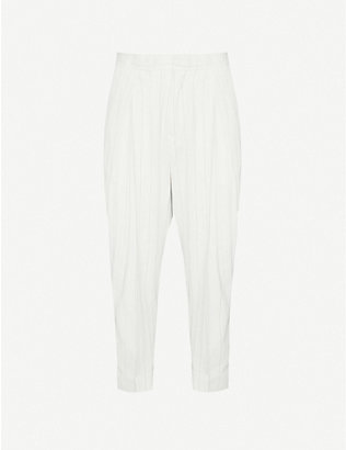 ANN DEMEULEMEESTER: Pinstriped slim-fit straight cotton and linen-blend trousers