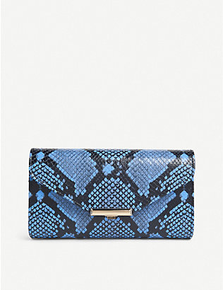 LK BENNETT: Lucy snakeskin-print leather clutch
